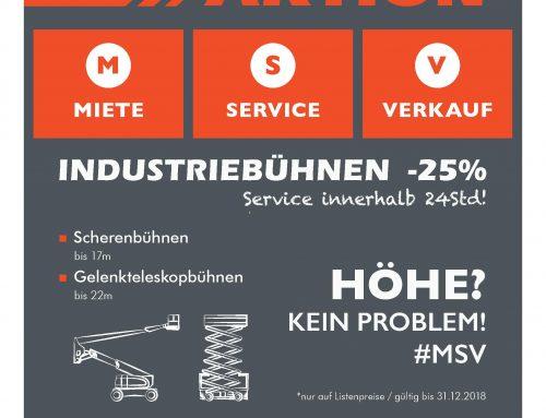 25% Rabatt für Scheren- & Gelenkteleskopbühnen